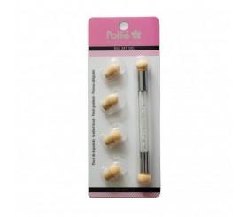POLLIE Nail Brush Ombre Sponge Art Tool Πινέλο Νυχιών Με 6 Κεφαλές